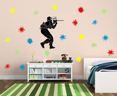 Wall Decal Paintball Player with Paint by CuttinUpCustomDieCut #paintball #paint #splatters