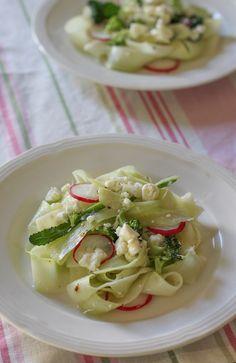 Food Lust People Love: Shaved Broccoli Stalk Feta Salad #BloggerCLUE