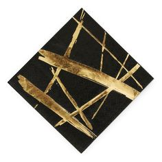 Gold Strokes Black Cocktail Napkins - New Years Party Supplies