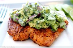 Grilled Spice-Rubbed Salmon with Bright Chunky Avocado Salsa