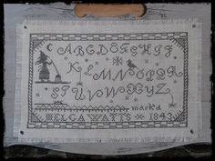Primitive Cross Stitch Sampler Pattern Helga by primitivebettys, $10.00