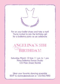 Ballerina party invitation. Perfect for the little girls who love pink AND purple!