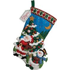 Bucilla Felt Applique Stocking, Tree Shopping