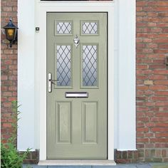 External Virtuoso Carlton Four Diamond Lead Composite Door, Shown in Olive Door Sets, House Front, Entrance Doors, External Doors, Front Door, Composite Door, Modern Composite Doors, Window Frames, Doors