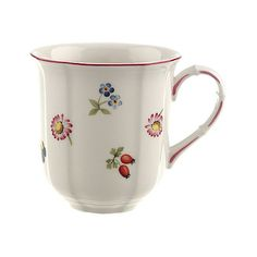 Petite Fleur Mug Coffee Mugs ($32) ❤ liked on Polyvore featuring home, kitchen & dining, drinkware, red coffee mugs, floral mugs, red mugs, white coffee mugs y villeroy & boch