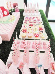 garden fairy party- the fake grass along the table .. Great idea!