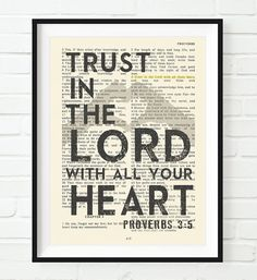 Trust in the Lord- Proverbs 3:5-Vintage Bible Highlighted Verse Scripture Page- Christian Wall ART PRINT
