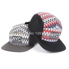 Find More Baseball Caps Information about 2015 Cotton NYC Embroidered Flat brim Hat Zigzag Red/Gray/White Striped Baseball Caps 5 Panel For Men Women Strapback Goldtop,High Quality Baseball Caps from Goldtop on Aliexpress.com
