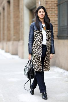 Caroline Issa in leopard - Street Style at New York Fashion Week #NYFW