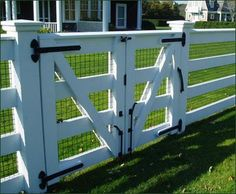 Four Rail Double Gate Entrance Gates Wood Gates and more from Walpole Woodworkers Farm Gate, Farm Fence, Dog Fence, Backyard Fences, Garden Fencing, Front Fence, Fence For Dogs, Dog Proof Fence, Small Fence