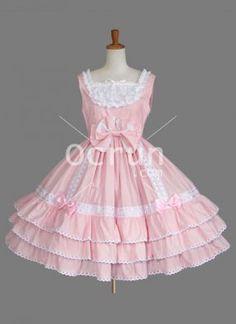 Netter MultiLayer Rosa Bow Baumwolle Sweet Lolita Kleid ärmellos
