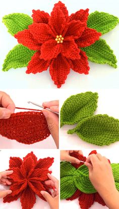 Fleur de poinsettia au crochet à faire pour le décor , Crochet Video, Easy Crochet, Crochet Leaves, Crochet Flowers, Diy Flowers, Crochet Flower Tutorial, Pattern Flower, Free Crochet Flower Patterns, Free Christmas Crochet Patterns