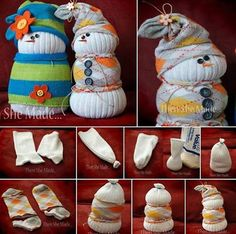 SOCK SNOWMAN ... You'll need a pair of old socks that are crew length, or longer, rice, rubber bands, buttons, pins with ball heads or small beads for eyes and nose and any left over fabric if you want for a scarf. Remainder of directions included.