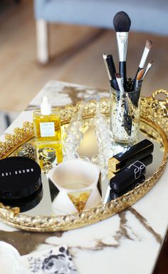 {TIP} Arrange your everyday makeup on a pretty tray to keep your essentials both accessible, pretty & neat.