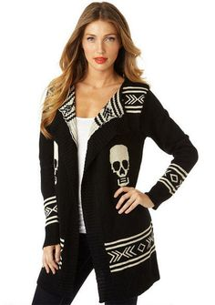Skull Cardigan - View All Tops - Tops - Clothing - Alloy Apparel