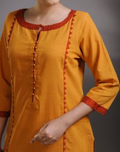 Cotton Panelled Applique Long Kurta