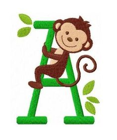 set of 26 monkey letters font machine embroidery by FunStitch, $15.00
