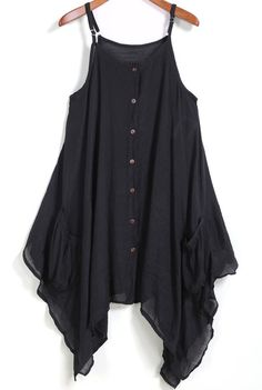 To find out about the Black Spaghetti Strap Buttons Asymmetrical Dress at SHEIN, part of our latest Dresses ready to shop online today! Young Fashion, Look Fashion, Fashion Outfits, Little Girl Dresses, Nice Dresses, Dresses With Sleeves, Sleeve Dresses, Long Summer Dresses, Dress Summer