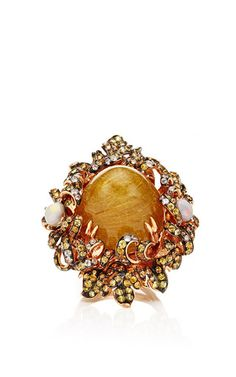 Rutilated Quartz Ring by WENDY YUE for Preorder on Moda Operandi