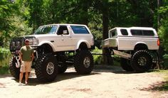 "Ford Bronco on 54""s with matching trailer"