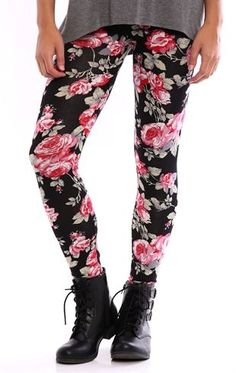 Deb Shops Floral Print Leggings $12.00