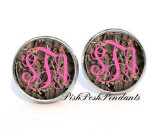 Camouflage Monogram Earrings 400 by PishPoshPendants on Etsy, $8.95- Love! and I'm not even a camo girl. But the monogram makes them girly and classy!