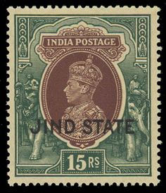 [Indian States], Jind & Nabha, King George VI Issues, 1937-42 (Scott 145-49,164,O72-74,83-84,O49,O51), colorful group of fourteen fresh stamps, mostly never hinged, and comprising Jind State 1938 KGVI 1r to 15r (Scott 145-49), 1942 KGVI 25r (164), 1942 Officials (O72-75) & Nabha 1938 KGVI 5r & 10r (83-84) & 1942 Officials (O49 & O51); Nabha stamps slightly toned gum., Fine to Very Fine. Scott $1,070 as hinged Estimate $400 - 600.