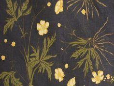 Buttercup on Black – Lauren Liess Water Flowers, Wild Flowers, Cream Living Rooms, Dark Wood Furniture, Fabric Pictures, Buttercup, Boho Pillows, Natural Linen, Fabric Flowers
