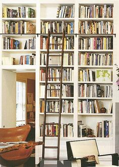Wall of Books with a Rolling Ladder - we could do this (have always loved this idea)