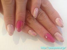 濃淡ピンクのワンカラーネイル  One color shade of pink nail
