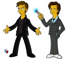 Tenth and Eleventh Doctors get the Simpsons treatment!