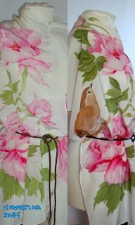 Peonnies on crepe de chine, shwal 180x45cm