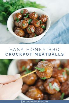 These honey BBQ meatballs are sweet, delicious and super simple to make in the crockpot. They're the perfect quick appetizer for picky kids, tailgating parties or your next holiday get together since they need only frozen meatballs, honey and grape jelly! Easy Crockpot Meatballs, Bbq Meatballs, Quick Appetizers, Appetizer Ideas, Pinterest Recipes, Pinterest Food, Crockpot Recipes, Dip Recipes, Cooker Recipes