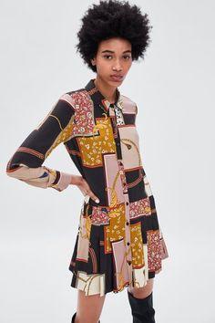 Zara Trends, Moda Zara, Collared Shirt Dress, Scarf Dress, Zara Fashion, Vintage Scarf, T Shirts For Women, Clothes For Women, Fashion Prints