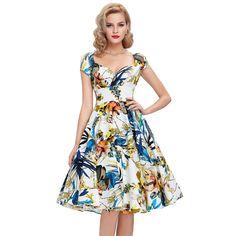 Buntes Vintage Retro Kleid Online