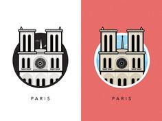 Illustration of Famous European Landmarks Paris Landmarks, Famous Landmarks, Web Design, Logo Design, Graphic Design, Notre Dame Logo, Converse Design, City Icon, France Photos