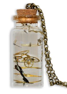 Time In A Bottle Necklace containing Watch by thelongwayround