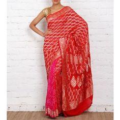 Red Bandhej Banarasi Georgette Saree