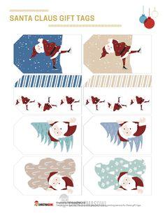Free printable Santa Claus gift tags for Christmas. Download them at https://christmasowl.com/download/gift-tags/santa-claus/