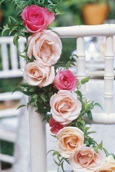 Ana Rosa- great decor for bridal shower Love Rose, Love Flowers, Fresh Flowers, Wedding Flowers, Paper Flowers, Rose Garland, Coming Up Roses, Rose Cottage, Wedding Chairs