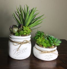 Give any room in your home or office a beautiful touch with this charming artificial succulent mason jar decor. These painted mason jars are the perfect addition to any space. Keep this succulent planter for years worry free. It makes the perfect gift for anyone who loves a touch of