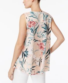 Style & Co Printed Sleeveless Blouse, Only at Macy's - Purple M