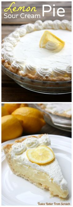 The BEST (and easiest) Lemon Sour Cream Pie Recipe. My all time favorite pie!  On MyRecipeMagic.com