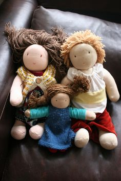 Waldorf Dolls (Oxford Kitchen Yarns) for the hair