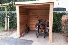 Outdoor Bike Storage, Bike Shed, House Yard, Shed Plans, Wood Projects, Backyard, Gardening, Outdoor Structures, Design