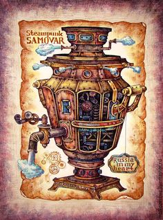 Steampunk Samovar by Elizabeth Melkozёrova Steampunk Images, Steampunk Crafts, Steampunk Design, Steampunk Fashion, Steampunk Kunst, Steampunk Accessories, Decoupage Vintage, Music Wallpaper, Vintage Labels