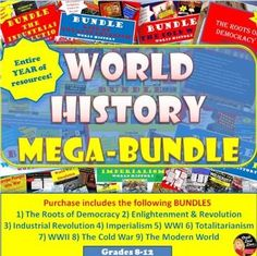 "MEGA BUNDLE for World History (High School)–SAVE $$$ This product includes everything you need to teach a 180-day year for your secondary WORLD History class. Purchase in BUNDLE and you will automatically save 25% off of each product! A daily pacing guide and detailed lesson plans are included! ""Work smarter not harder!"""