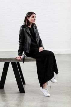 """justthedesign: """" Sara Donaldson is looking elegant and sophisticated in a black maxi dress paired with a sleek and classic style leather jacket. Wear this look with white sneakers to steal Sara's understated style. Dress: Matin, Jacket: IRO,..."""