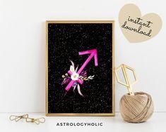 Sagittarius Zodiac Printable, Astrology Wall Art, Star Sign, Birthday gift, Floral Print, Constellation, Digital Download Sagittarius Zodiac, Astrology Zodiac, Moon Magic, International Paper Sizes, Night Skies, Constellations, Birthday Gifts, Floral Prints, Printables