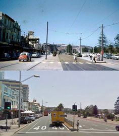 Campbell Parade Bondi Beach in 1958 and 2009.  [1958 - State Library of NSW>2009 - Google Street View. By Phil Harvey]
